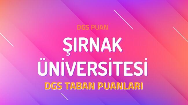 DGS Şırnak Üniversitesi 2022 Taban Puanları